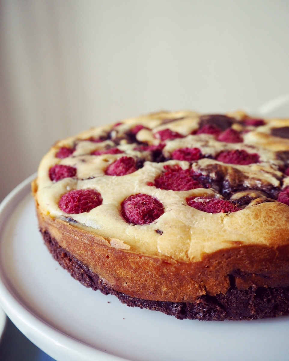Breescake ? Cheesnie ? Mi-Brownie,Mi-Cheesecake aux framboises